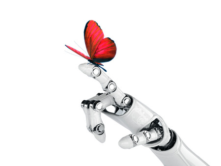 butterfly hand: robot hand and butterfly Stock Photo