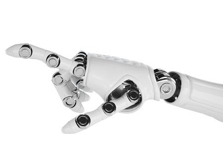 배경에 고립 된 로봇을 가리키는 암