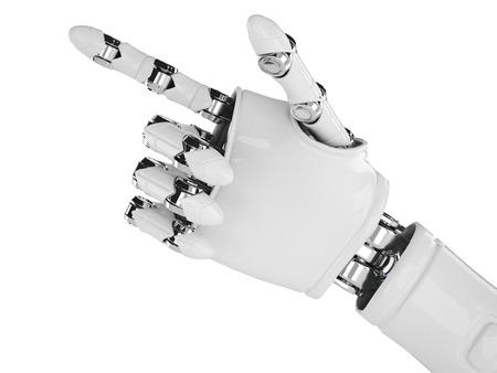 mano robotica: Aislado brazo robótico que apunta en el fondo