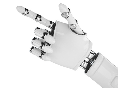 Isolated robotic pointing arm on background Stock Photo