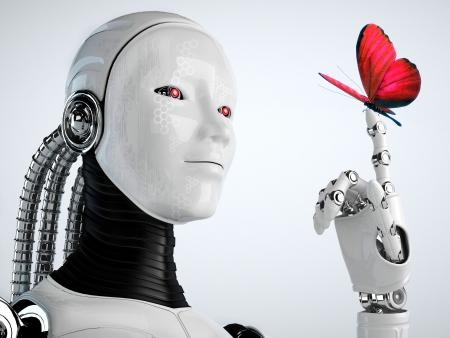robot android vrouw met vlinder