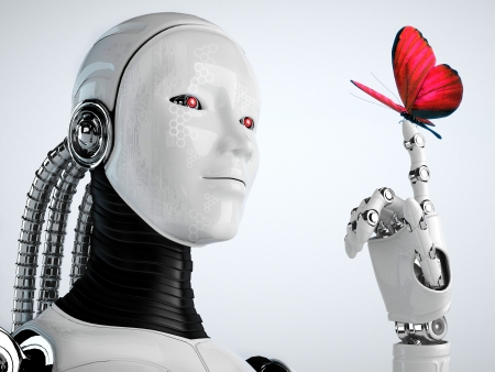 robot android woman with butterfly  Standard-Bild