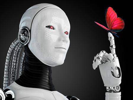 donna farfalla: robot androide donna con farfalla Archivio Fotografico