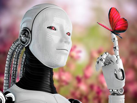 robot android vrouw met vlinder in de natuur Stockfoto