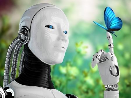 自然の中で蝶を持つロボット アンドロイドの女性
