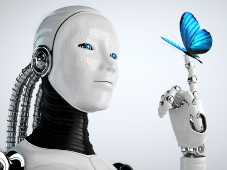 robot android woman with butterfly  Stock Photo