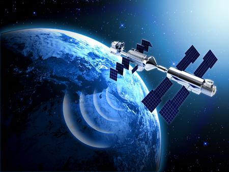 radio wave: satellite in space