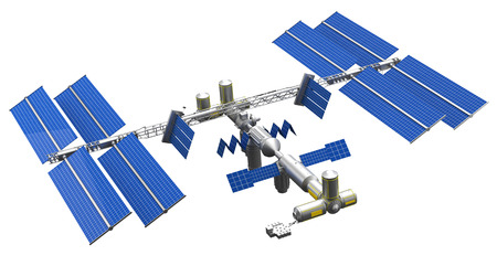 dimensionally: satellite space station Stock Photo