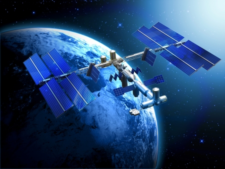 dimensionally: satellite space station Stock Photo