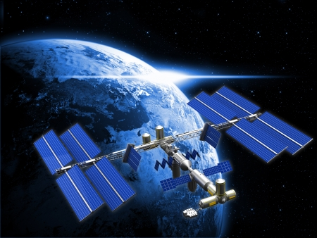 satellite space station Stock Photo