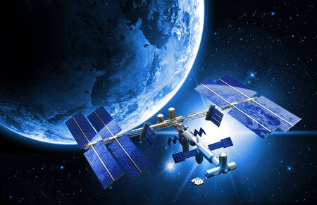 space station: satellite space station Stock Photo