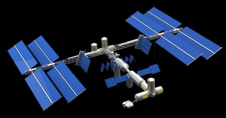 satellite in space: satellite space station Stock Photo