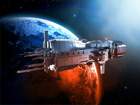 star wars: spaceship with planet earth