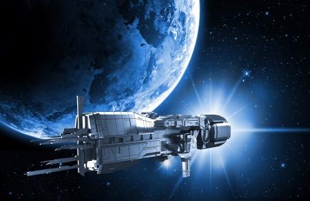 행성 지구와 우주선