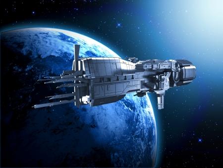 ruimteschip met de planeet aarde Stockfoto