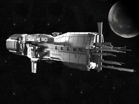 raumschiff: Raumschiff mit dem Planeten Erde