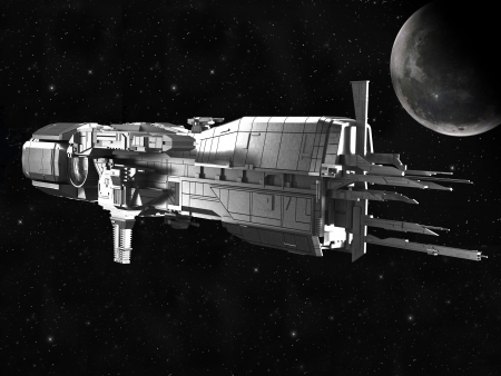 space wars: spaceship with planet earth