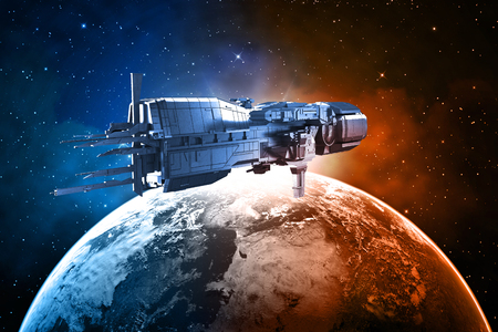 space shuttle: spaceship with planet earth