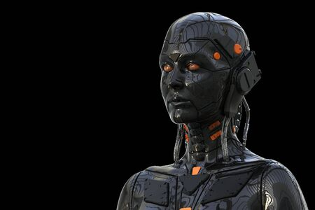 Robot Android Cyborg Woman Humanoid - isolated in black background -realistic 3D rendering