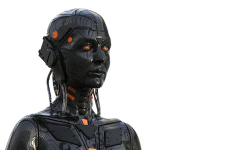 Robot Android Cyborg Woman Humanoid - isolated in white background -realistic 3D rendering