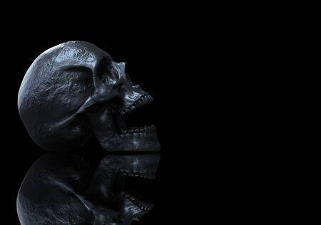 Black skull isolated in black background 3d render Banque d'images