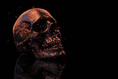 burned skull in fire 3d illustration