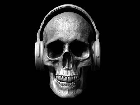 skull with headphones isolated on white background 3d illustration Stock Illustration - 133330226