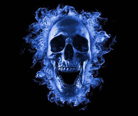 Skull burning in fire 3d rendering background