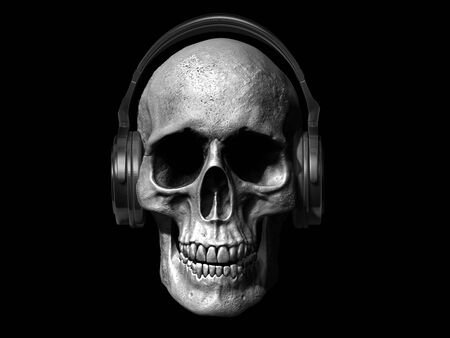 skull with headphones isolated on white background 3d illustration Stock Illustration - 133330485