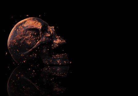 Skull burning in fire 3d rendering background