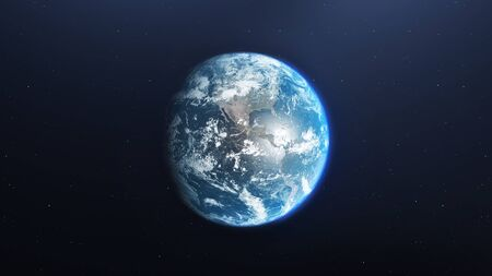 Earth planet viewed from space, 3d render of planet Earth, elements of this image provided by NASA