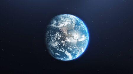 Planeta Tierra visto desde el espacio, render 3d del planeta Tierra, elementos de esta imagen proporcionada por la NASA