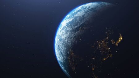 Earth planet viewed from space, 3d render of planet Earth