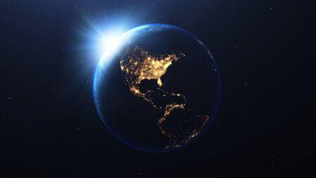 Earth planet and sunrise view Zdjęcie Seryjne
