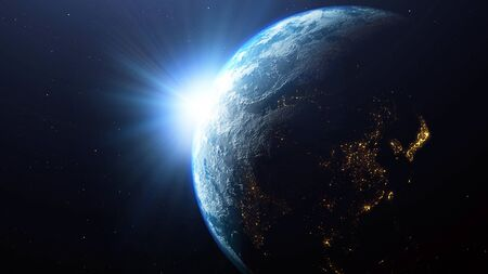 Earth planet with the sun viewed from space, 3d render of planet Earth, this image provided by NASA