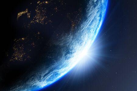 Planeta Tierra con el sol visto desde el espacio, render 3d del planeta Tierra, esta imagen proporcionada por la NASA