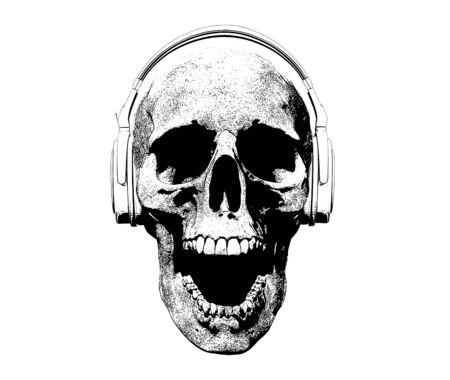 schedel met koptelefoon geïsoleerd op de achtergrond 3d illustratie Stockfoto