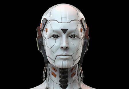 Robot femme de science-fiction - Cyborg android Humanoïde Intelligence artificielle background-3D render