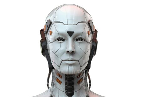 Sci-fi woman robot - Cyborg android Humanoid Artificial intelligence background-3D render