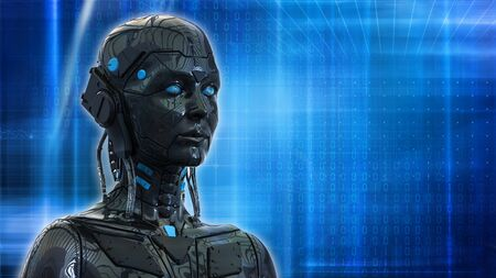 Technology Robot sci-fi woman Cyborg android background -Humanoid Artificial intelligence wallpaper-3D render