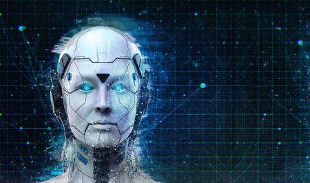 Tecnología Robot sci-fi mujer Cyborg fondo de android - Fondo de pantalla de inteligencia artificial humanoide - Render 3D