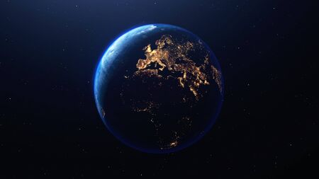 Earth planet viewed from space at night showing the lights of Europe and other countries, 3d render of planet Earth, this image provided by NASA Foto de archivo