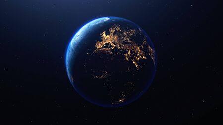 Planète Terre vue de l'espace la nuit montrant les lumières de l'Europe et d'autres pays, rendu 3d de la planète Terre, cette image fournie par la NASA Banque d'images