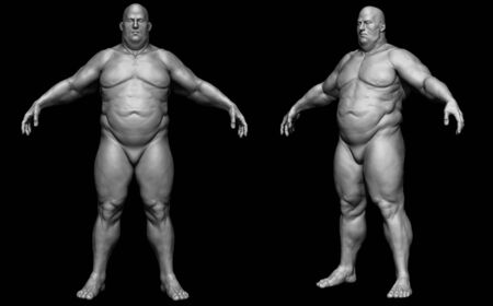 The human body in overweight - Body fat man - isolated model - 3d render Archivio Fotografico - 134751622