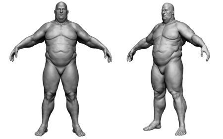 The human body in overweight - Body fat man - isolated model - 3d render Archivio Fotografico - 134751623