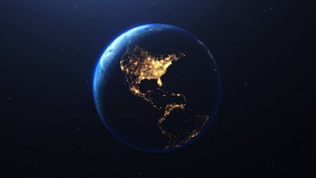 Earth planet viewed from space at the lights of the United States of America and Latin American countries, 3d render of planet Earth, this image provided by NASA