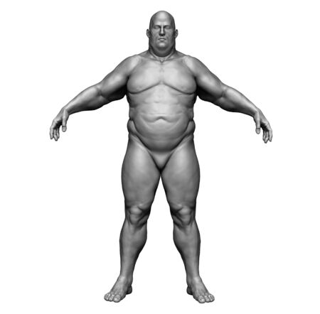 The human body in overweight - Body fat man - isolated model - 3d render Archivio Fotografico - 134751625