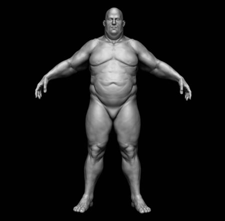 The human body in overweight - Body fat man - isolated model - 3d render Archivio Fotografico - 134751626