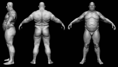 The human body in overweight - Body fat man - isolated model - 3d render Archivio Fotografico - 134751632