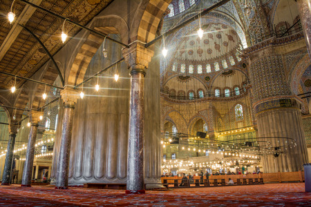 Interior design of the Sultanahmet Mosque Blue Mosque in Istanbul, Turkey